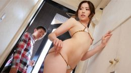 Slender beautiful Japanese wife with a super small bikini