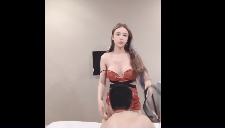 Chinese girl wearing sexy secretary uniform