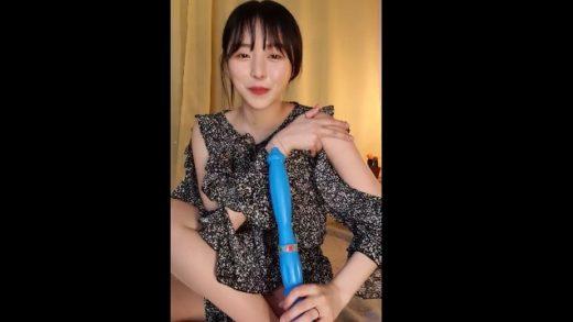 Korean girl showed interest in blue dildo