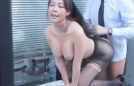 Sexy Chinese female secretary with blooming buttocks