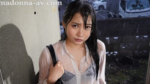 VR - Beautiful Japan girl gets her clothes wet by the rain making her sexy