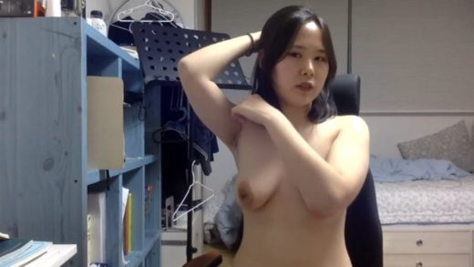 Korean girl with big tits showing off her cunt