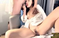Friends of Chinese girl sex-blowjob and footjob on the sofa
