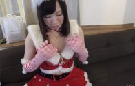 Japanese girl in christmas outfit is in great riding pose