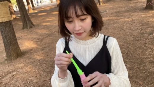 White Japanese young lady having sex in the park